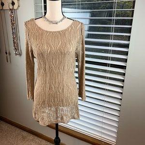 Coldwater Creek tan open weave sweater women's L